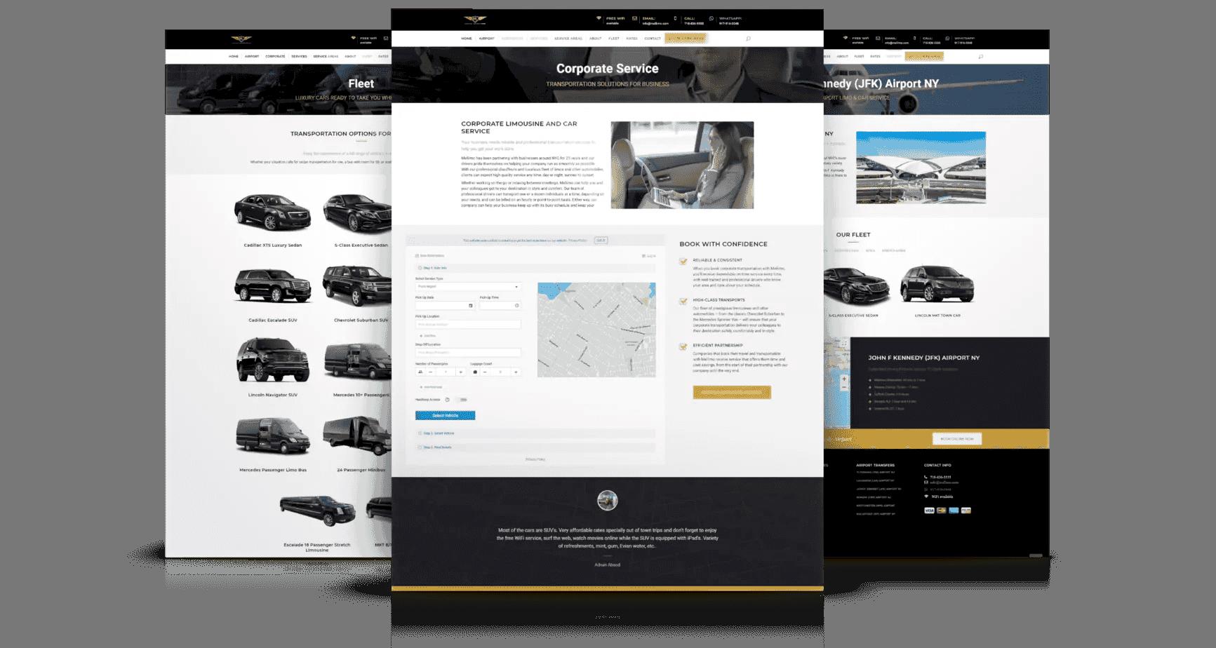 Responsive Website Design for Limousine Companies Page Design