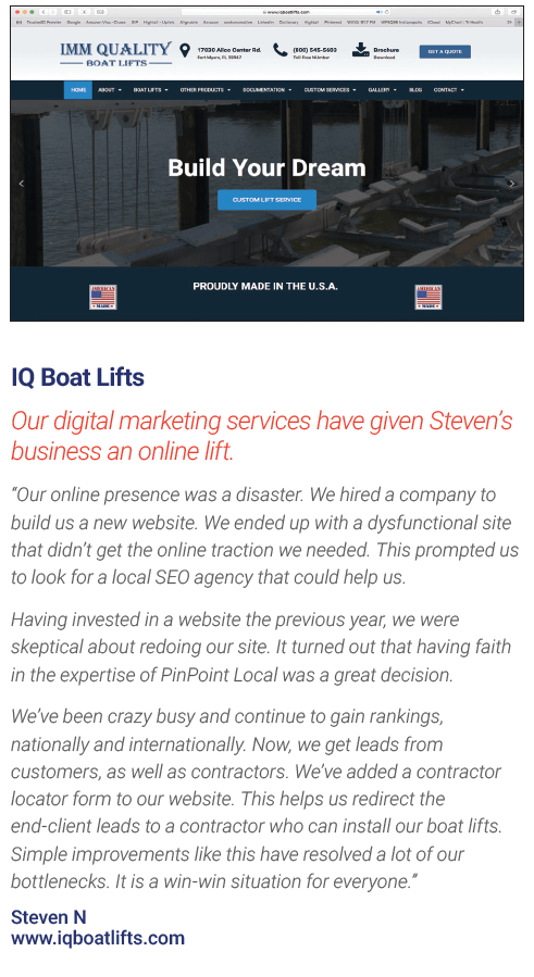 IQ Boats Lifts Website