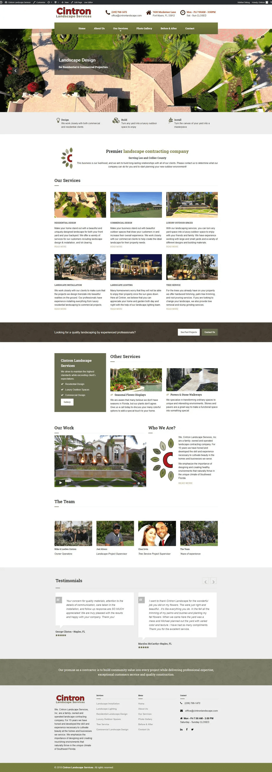 Responsive Website Design for Landscaping Companies Home Page Design