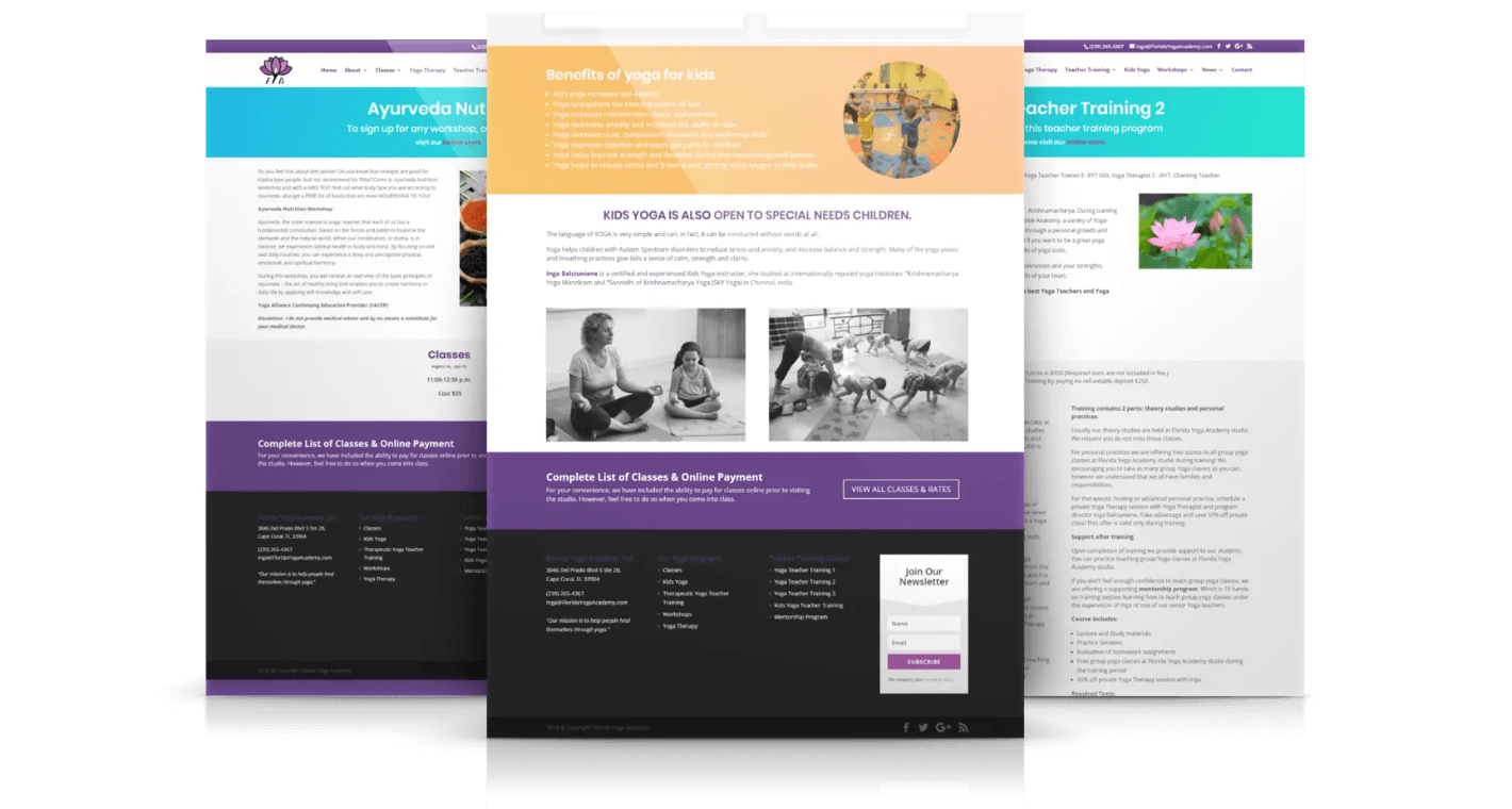 Responsive Website Design for Yoga Studios Home Page Design
